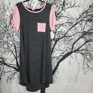 LuLaRoe Carly Dress Grey w Pink & White Stripes L